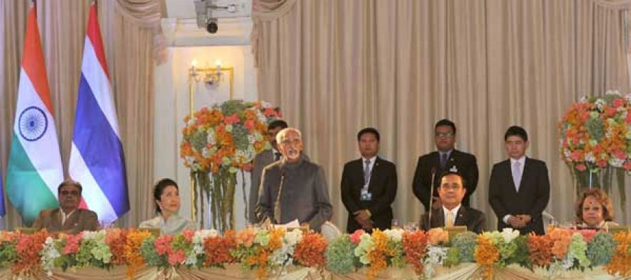 Vice President, M. Hamid Ansari addressing at the banquet hosted by the Prime Minister of Thailand, General Prayut Chan-o-cha