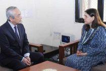 Ambassador of Japan to India, Kenji Hiramatsu calling on the Union Minister for Women and Child Development, Maneka Sanjay Gandhi,