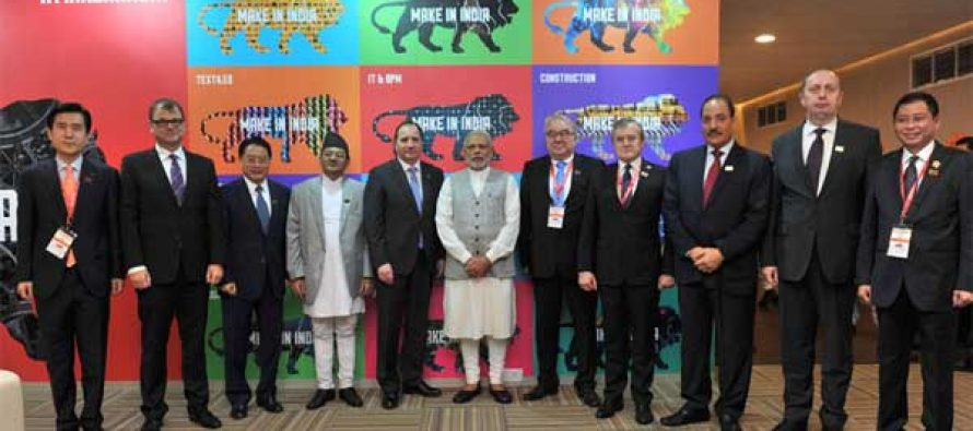 Prime Minister, Narendra Modi in a group photograph at the inauguration of the Make in India Centre, in Mumbai.