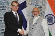 Prime Minister, Narendra Modi holding bilateral talks with the Prime Minister of Finland, Juha Sipila, at the Make in India Centre