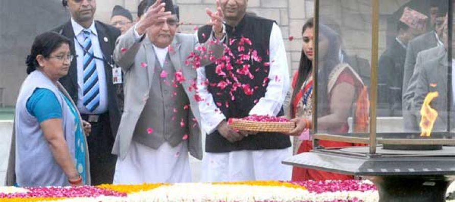Prime Minister of Nepal, K.P. Sharma Oli paying floral tributes at the Samadhi of Mahatma Gandhi, at Rajghat, in Delhi on February 20, 2016.
