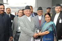Prime Minister of Nepal, K.P. Sharma Oli being received by the Union Minister for External Affairs, Sushma Swaraj