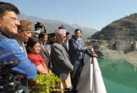 Prime Minister of Nepal, K.P. Sharma Oli visiting the Tehri Hydro Power Complex, at Tehri, Uttarakhand on February 21, 2016.