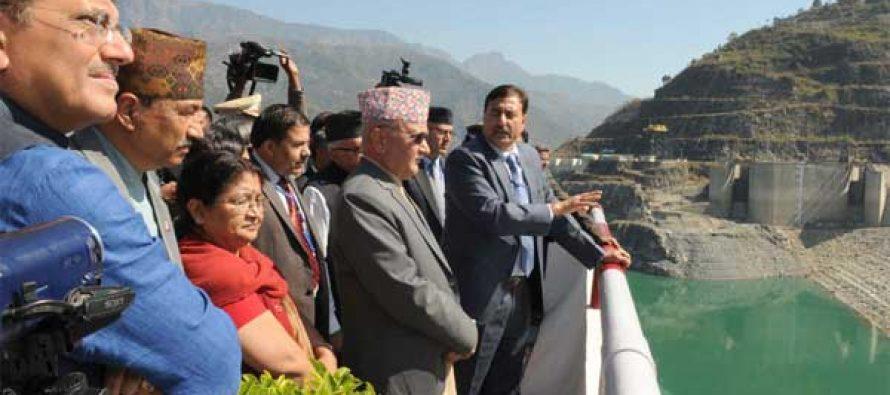 Prime Minister of Nepal, K.P. Sharma Oli visiting the Tehri Hydro Power Complex, at Tehri, Uttarakhand on February 21, 2016.