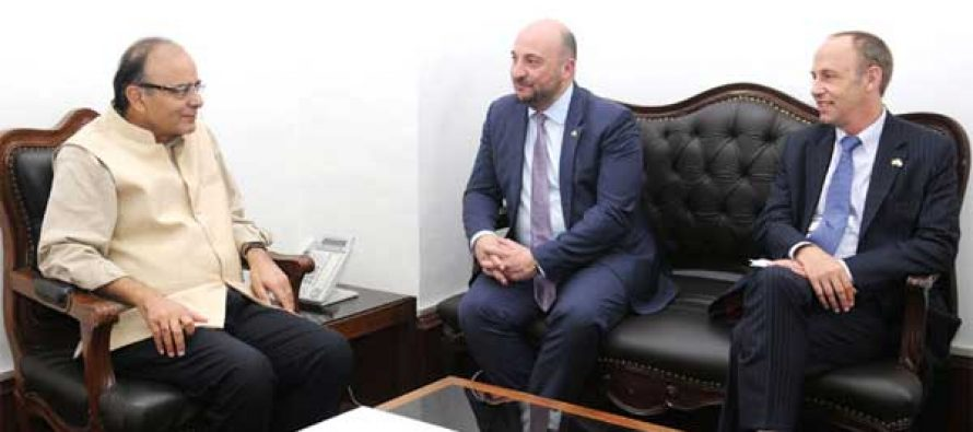 Deputy Prime Minister and Minister for Economy, Luxembourg, Etienne Schneider meeting the Minister for Finance, Corporate Affairs and I&B, Arun Jaitley