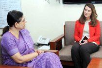Co-Founder of Bill & Melinda Gates Foundation, Melinda Gates meeting the Minister for Women and Child Development, Maneka Sanjay Gandhi,