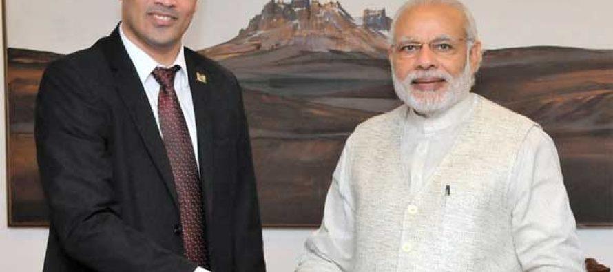 Vice President of Suriname, Ashwin Adhin calls on the Prime Minister, Narendra Modi, in New Delhi on March 11, 2016.