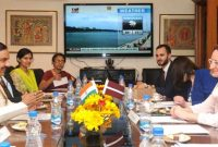 Minister of Culture, Latvia, Dace Melbarde meeting the MoS for Culture (IC), Tourism (IC) and Civil Aviation, Dr. Mahesh Sharma,