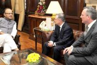 Minister of Expenditure & Reform, Ireland, Brendon Howlin meeting the Minister for Finance, Corporate Affairs and I&B, Arun Jaitley