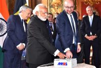 The Prime Minister, Narendra Modi and the Prime Minister of Belgium, Charles Michel, during the Remote Technical Activation