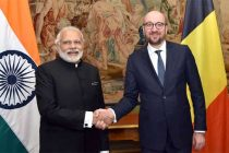 Prime Minister, Narendra Modi meeting the Prime Minister of Belgium, Charles Michel at the Egmont Palace, in Brussels,