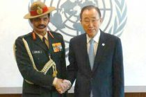 Chief of Army Staff, General Dalbir meeting the UN Secretary General, Ban Ki-moon, at UN Headquarters, in New York on April 05, 2016.