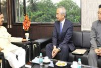 Ambassador of Japan to India, Kenji Hiramatsu meeting the MoS for Culture (IC), Tourism (IC) and Civil Aviation, Dr. Mahesh Sharma