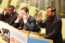 Minister of State for Environment, Forest and Climate Change (IC), Prakash Javadekar addressing the High-level Thematic Debate