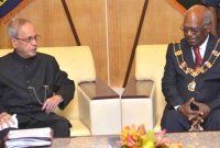 President, Pranab Mukherjee meeting the Governor General of Papua New Guinea, Sir Michael Ogio, at Government House