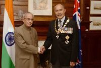 President India, Shri Pranab Mukherjee, meeting with H.E. Lieutenant General, The Rt. Hon'ble Sir Jerry Mateparae, GNZM, QSO