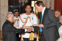 H.E. Sir Dominic Asquith, KCMG, High Commissioner of Britain presenting  credentials to President of India