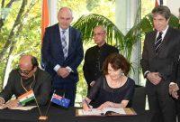 President, Pranab Mukherjee and the Minister for Nursery and Economic Development of New Zealand, Steven Joyce