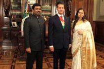 H. E. Mr. Muktesh Pardeshi, Ambassador of India to Mexico presenting his credentials to President of Mexico.