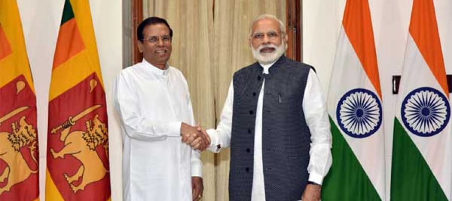 President of the Democratic Socialist Republic of Sri Lanka, Maithripala Sirisena meeting the Prime Minister, Narendra Modi