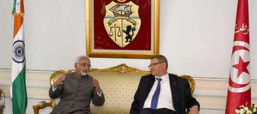 Vice President, M. Hamid Ansari with the Prime Minister of Tunisia, Habib Essid on his arrival, in Tunisia on June 02, 2016.