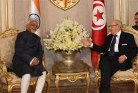 Vice President, M. Hamid Ansari calling on the President of Tunisia, Beji Caid Essebsi, in Tunisia on June 03, 2016.