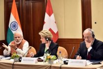 Prime Minister, Narendra Modi and the President of the Swiss Confederation, Johann Schneider-Ammann at a roundtable meeting