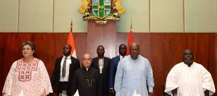 President Muhkerjee arrives in Ghana