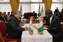 The President of India, Pranab Mukherjee, along with Alassane Ouattara, the President of the Republic of Cote d' lvoire participating the Signing of Agreements (EXIM Bank)