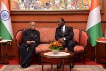 President of India, Pranab Mukherjee, along with Alassane Ouattara, the President of the Republic of Cote d' lvoire