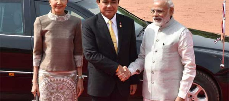 The Prime Minister, Narendra Modi with the Prime Minister of the Kingdom of Thailand, General Prayut Chan-o-cha,