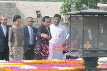Prime Minister of the Kingdom of Thailand, General Prayut Chan-o-cha paying floral tributes at the Samadhi of Mahatma Gandhi