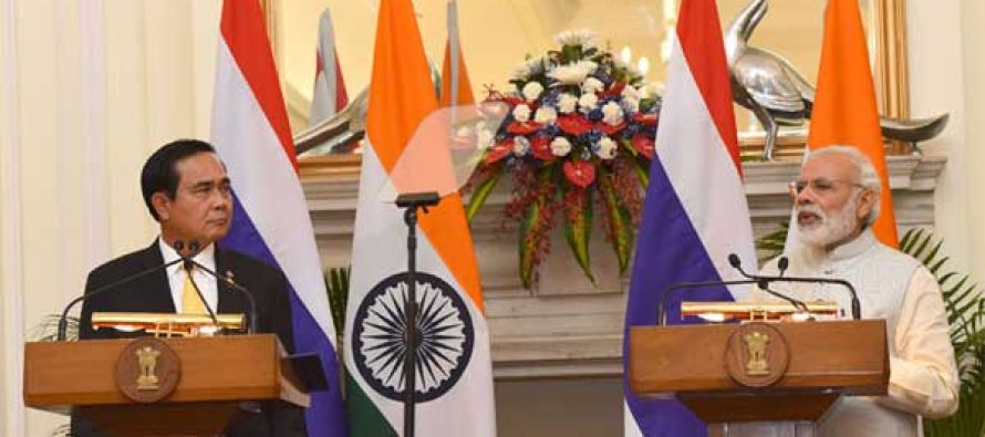 Prime Minister, Narendra Modi at the Joint Press Statement with the Prime Minister of the Kingdom of Thailand, General Prayut Chan-o-cha