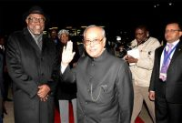 President, Pranab Mukherjee being bid farewell by the President of the Republic of Namibia, Hage Geingob