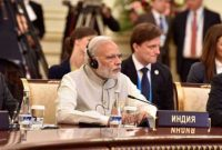 The Prime Minister, Narendra Modi at the extended meeting of the Member States and Observer countries, in Tashkent