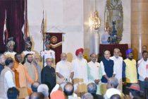 The President, Pranab Mukherjee, the Vice President, M. Hamid Ansari and the Prime Minister, Narendra Modi