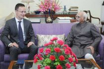 The Minister of Foreign Affairs and Trade of Hungary, Peter Szijjarto calling on the Vice President, M. Hamid Ansari