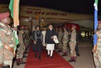 Prime Minister, Narendra Modi being welcomed on his arrival, at Pretoria, South Africa on July 08, 2016.