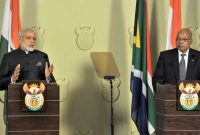 Prime Minister, Narendra Modi and the President of the Republic of South Africa, Jacob Zuma, during the Joint Press Statement,