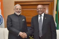 Prime Minister, Narendra Modi in a tete-a-tete with the President of the Republic of South Africa, Jacob Zuma, at Union Buildings