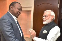 Prime Minister, Narendra Modi meeting the President of Kenya, Uhuru Kenyatta before the community event,