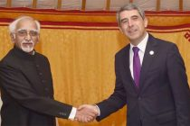 Vice President, M. Hamid Ansari in a bilateral meeting with the President of Bulgaria, Rosen Plevneliev