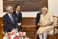 Minister of Defence, Japan, Gen Nakatani calls on the Prime Minister, Narendra Modi, in New Delhi on July 14, 2016.