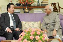 Ambassador of the State of Qatar to India, Ahmed Ibrahim Abdulla Al Abdulla calling on the Vice President, M. Hamid Ansari