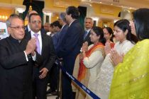 The President, Pranab Mukherjee meeting the visitors at the 'At Home' function, organised on the occasion of 70th Independence Day