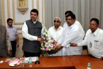 UP Governor Ram Naik and delegation of leprosy affected persons of Maharashtra meeting Maharashtra Chief Minister Devendra Fadanvis