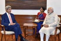 The Secretary of State of the United States of America, John Kerry calls on the Prime Minister, Narendra Modi, in New Delhi