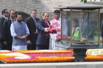 President of the Arab Republic of Egypt, Abdel Fattah el-Sisi paying floral tributes at the Samadhi of Mahatma Gandhi, at Rajghat,