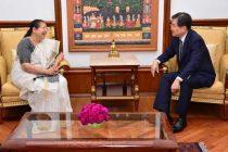 Ambassador of Republic of Korea  Cho Hyun  calls on Lok Sabha Speaker Sumitra Mahajan in Parliament House on September 09, 2016.