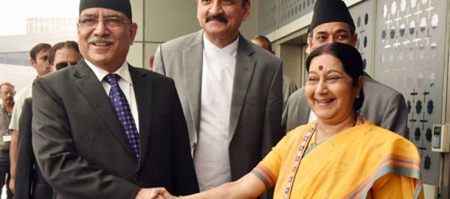 Prime Minister of Nepal, Pushpa Kamal Dahal being received by the Union Minister for External Affairs, Sushma Swaraj